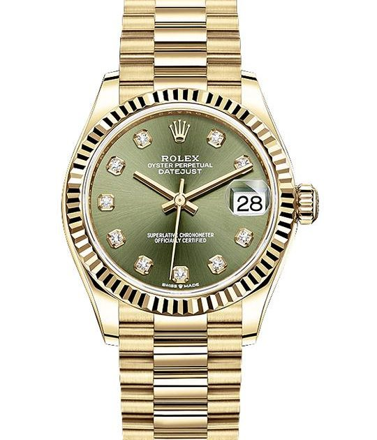 Rolex Datejust 31 mm Yellow Gold Green Dial with Diamonds